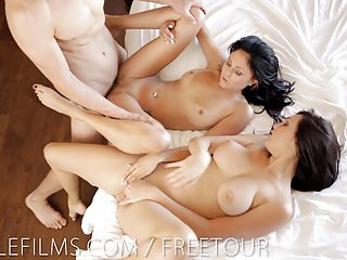 Erotic kneading leads almost cum-swapping threesome